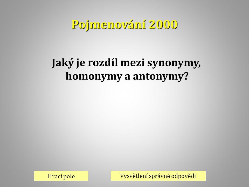 Pojmenování 2000 Hrací pole Vysvětlení správné odpovědi Jaký je rozdíl mezi synonymy, homonymy a antonymy?