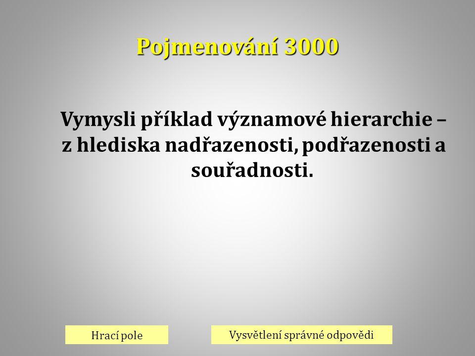 Pojmenování 3000 Hrací pole Vysvětlení správné odpovědi Vymysli příklad významové hierarchie – z hlediska nadřazenosti, podřazenosti a souřadnosti.