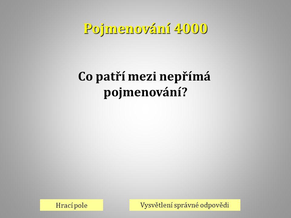Pojmenování 4000 Hrací pole Vysvětlení správné odpovědi Co patří mezi nepřímá pojmenování?