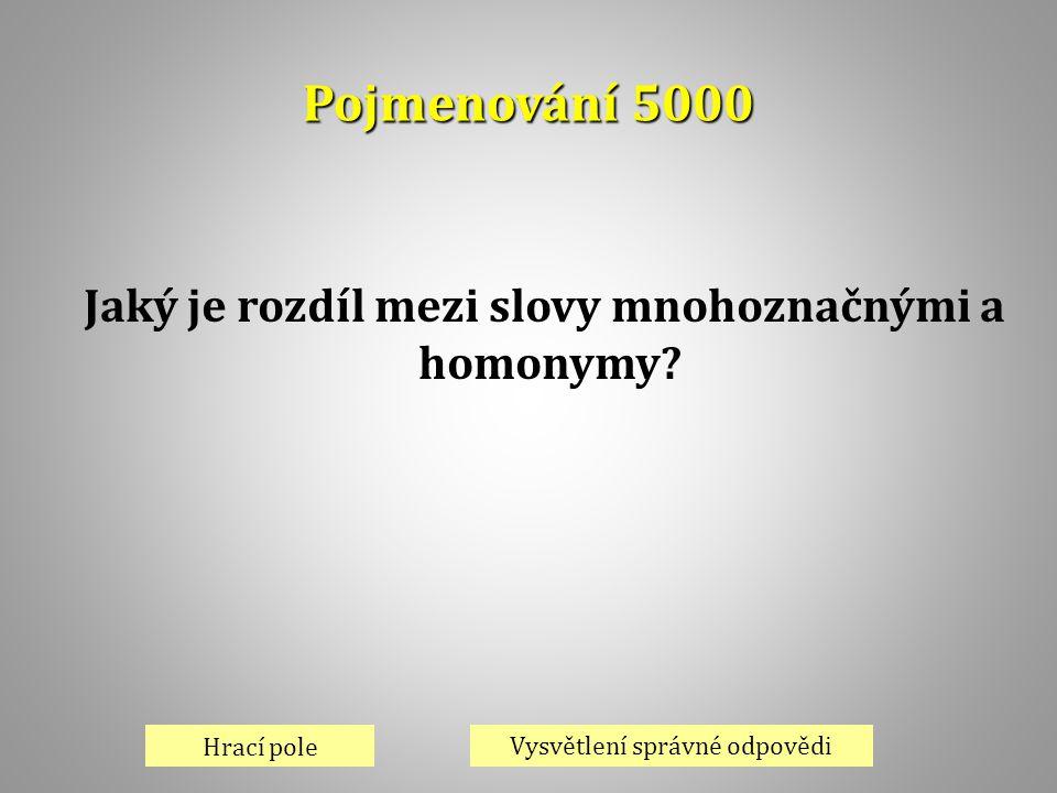 Pojmenování 5000 Hrací pole Vysvětlení správné odpovědi Jaký je rozdíl mezi slovy mnohoznačnými a homonymy?