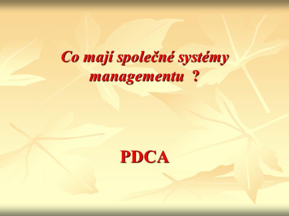 P D C A Strategie (Politika), Cíle, Procesy, Podmínky Analýza údajů, nápravná a preventivní opatření, přezkoumání cílů Měření, monitorování, neshody, audity Realizace procesů Plan Do Analyse Check
