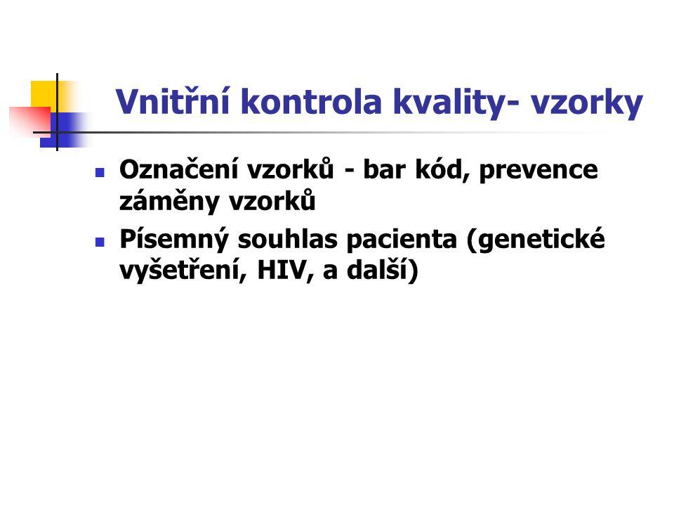 Vnitřní kontrola kvality- vzorky Označení vzorků - bar kód, prevence záměny vzorků Písemný souhlas pacienta (genetické vyšetření, HIV, a další)