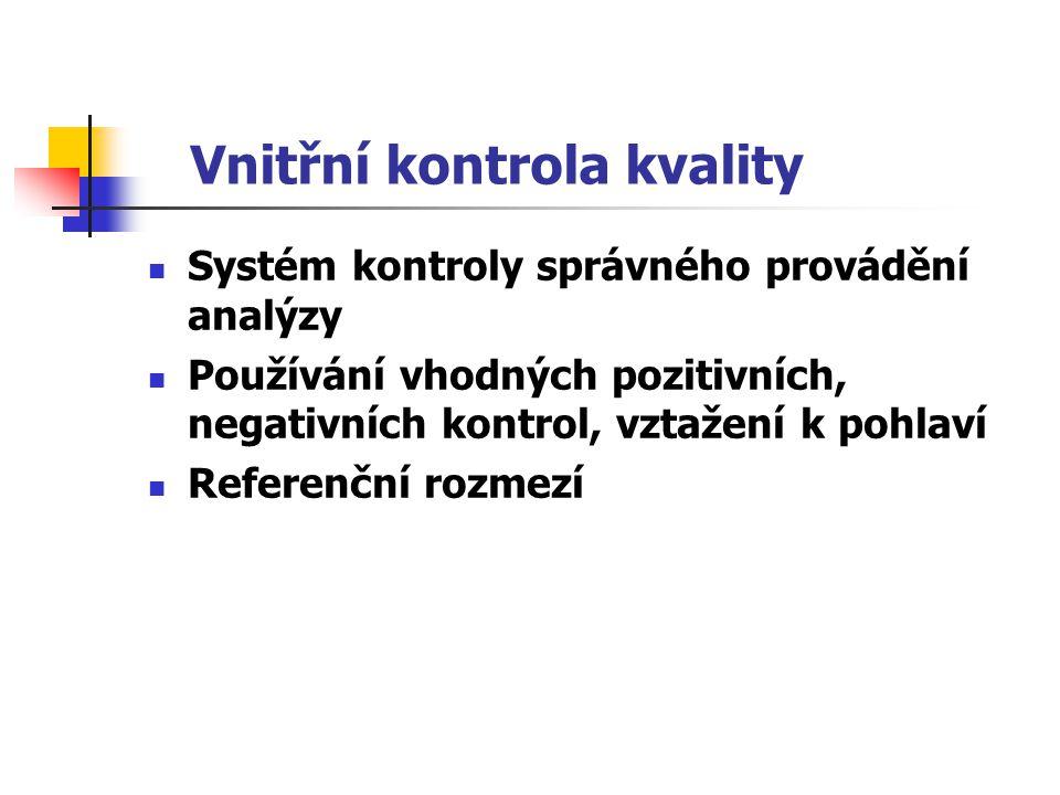 Vnitřní kontrola kvality Systém kontroly správného provádění analýzy Používání vhodných pozitivních, negativních kontrol, vztažení k pohlaví Referenčn