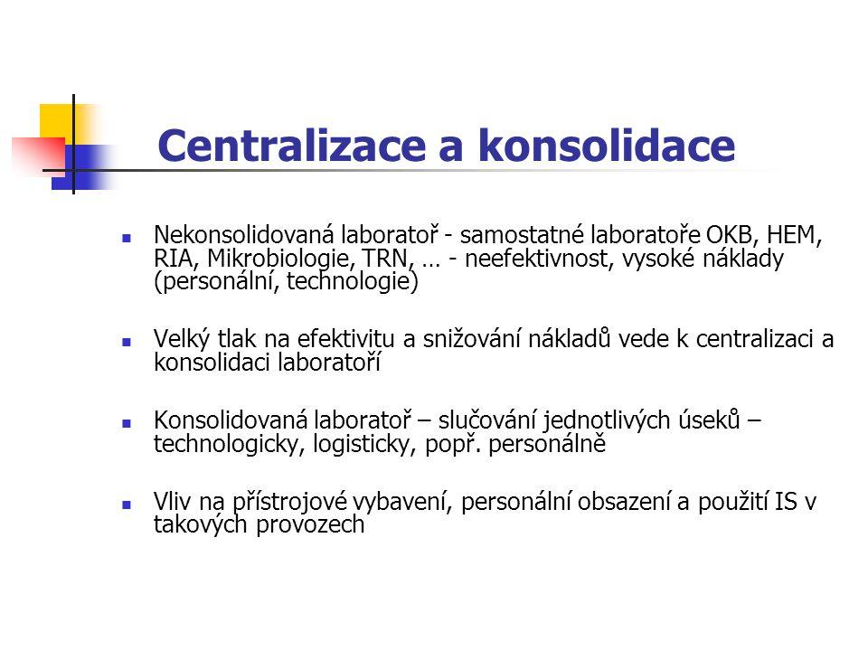 Centralizace a konsolidace Nekonsolidovaná laboratoř - samostatné laboratoře OKB, HEM, RIA, Mikrobiologie, TRN, … - neefektivnost, vysoké náklady (per