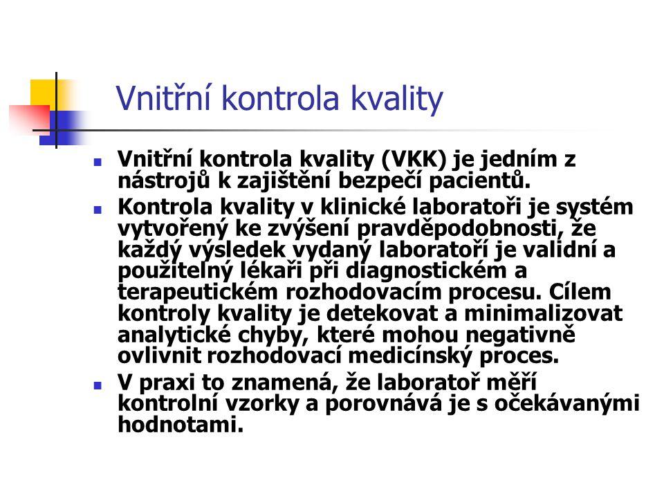 Vnitřní kontrola kvality Systém VKK by měl být: - jednoduchý - přehledný - ekonomický - účinný - v souladu s legislativními požadavky (direktiva EU IVD MD) - v souladu s odbornými poznatky - v souladu s normativními požadavky - užitečný při stanovení analytických znaků metod