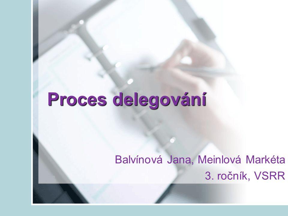 Obsah naší prezentace Co je to delegování Postup při delegování Výhody delegování Bariery delegování Úkoly chyby při zadávání úkolů co má správný úkol mít motivační působení úkolu Otázky a úkoly
