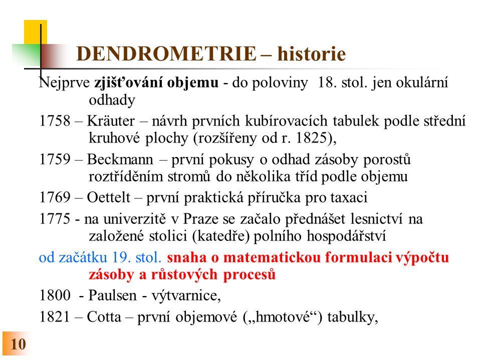 10 DENDROMETRIE – historie Nejprve zjišťování objemu - do poloviny 18. stol. jen okulární odhady 1758 – Kräuter – návrh prvních kubírovacích tabulek p