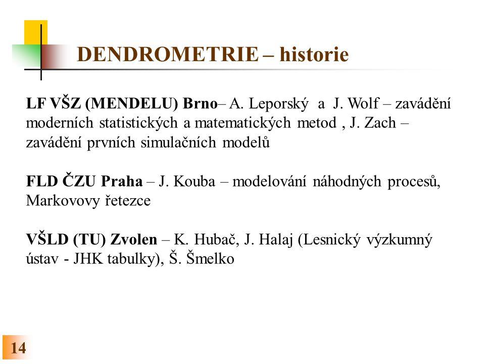 DENDROMETRIE – historie 14 LF VŠZ (MENDELU) Brno– A. Leporský a J. Wolf – zavádění moderních statistických a matematických metod, J. Zach – zavádění p