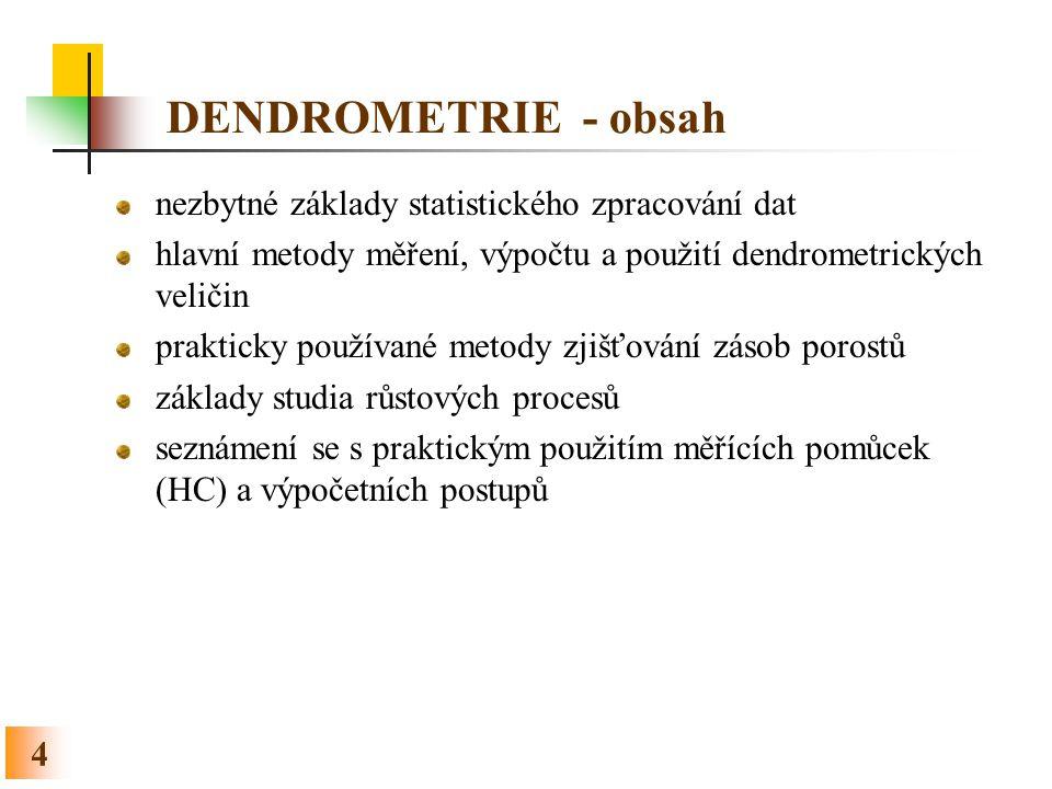 4 DENDROMETRIE - obsah nezbytné základy statistického zpracování dat hlavní metody měření, výpočtu a použití dendrometrických veličin prakticky použív