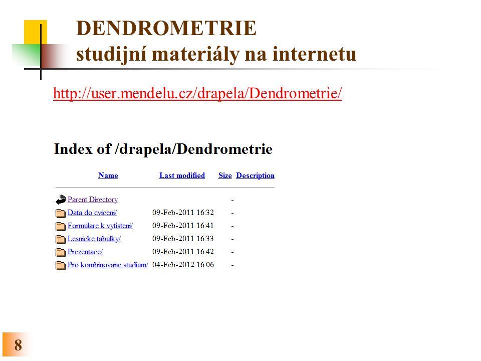 8 DENDROMETRIE studijní materiály na internetu http://user.mendelu.cz/drapela/Dendrometrie/