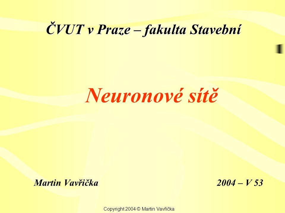 Neuronové sítě Martin Vavřička Copyright 2004 © Martin Vavřička 2004 – V 53 ČVUT v Praze – fakulta Stavební