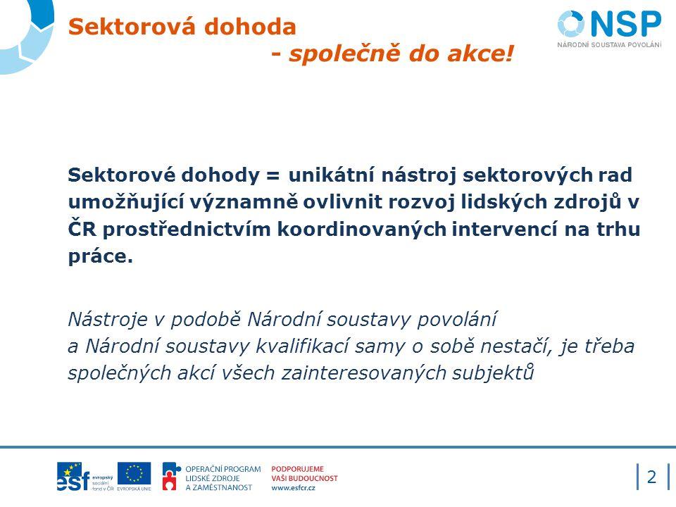 Sektorová dohoda - společně do akce! Sektorové dohody = unikátní nástroj sektorových rad umožňující významně ovlivnit rozvoj lidských zdrojů v ČR pros
