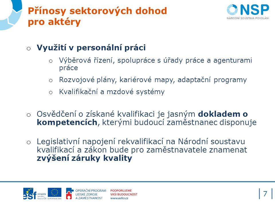 Přínosy sektorových dohod pro aktéry o Využití v personální práci o Výběrová řízení, spolupráce s úřady práce a agenturami práce o Rozvojové plány, ka