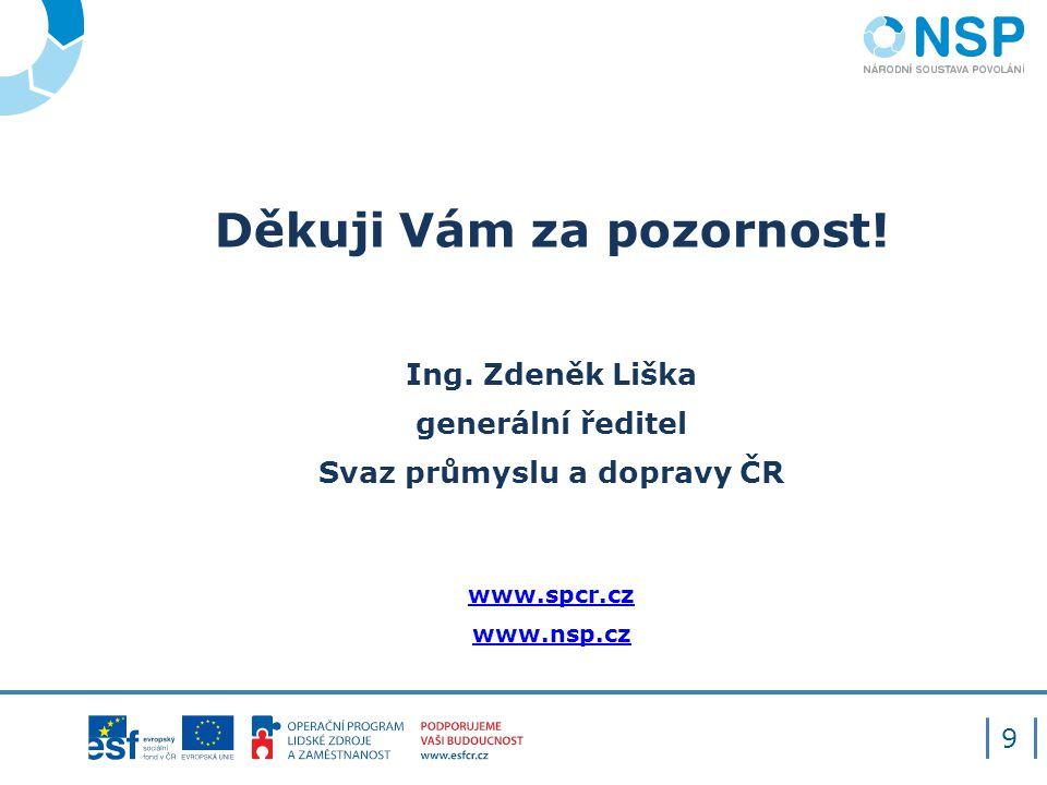 Děkuji Vám za pozornost! Ing. Zdeněk Liška generální ředitel Svaz průmyslu a dopravy ČR www.spcr.cz www.nsp.cz 9