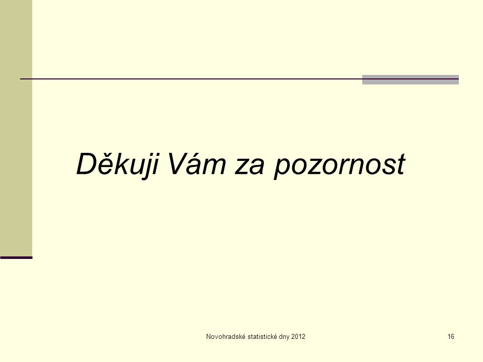 Novohradské statistické dny 201216 Děkuji Vám za pozornost