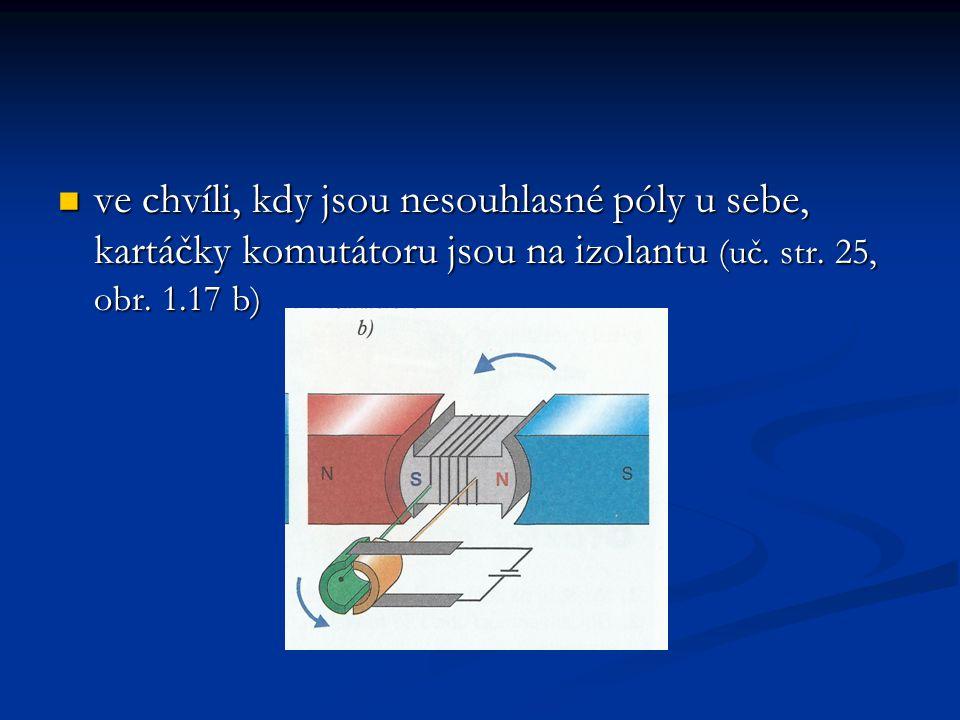 ve chvíli, kdy jsou nesouhlasné póly u sebe, kartáčky komutátoru jsou na izolantu (uč. str. 25, obr. 1.17 b) ve chvíli, kdy jsou nesouhlasné póly u se