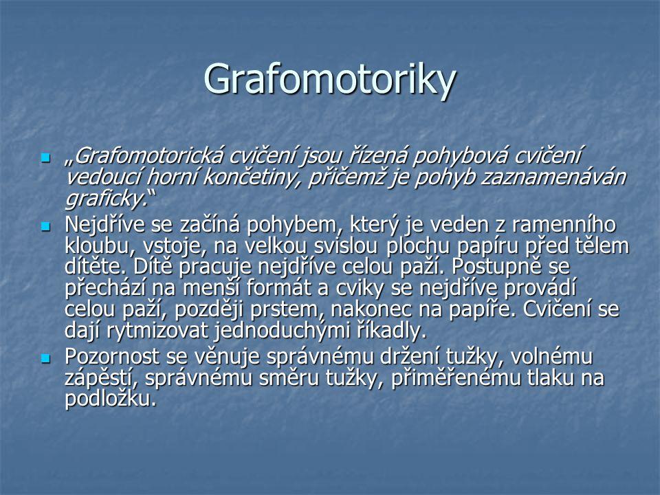 """Grafomotoriky """"Grafomotorická cvičení jsou řízená pohybová cvičení vedoucí horní končetiny, přičemž je pohyb zaznamenáván graficky."""" """"Grafomotorická c"""