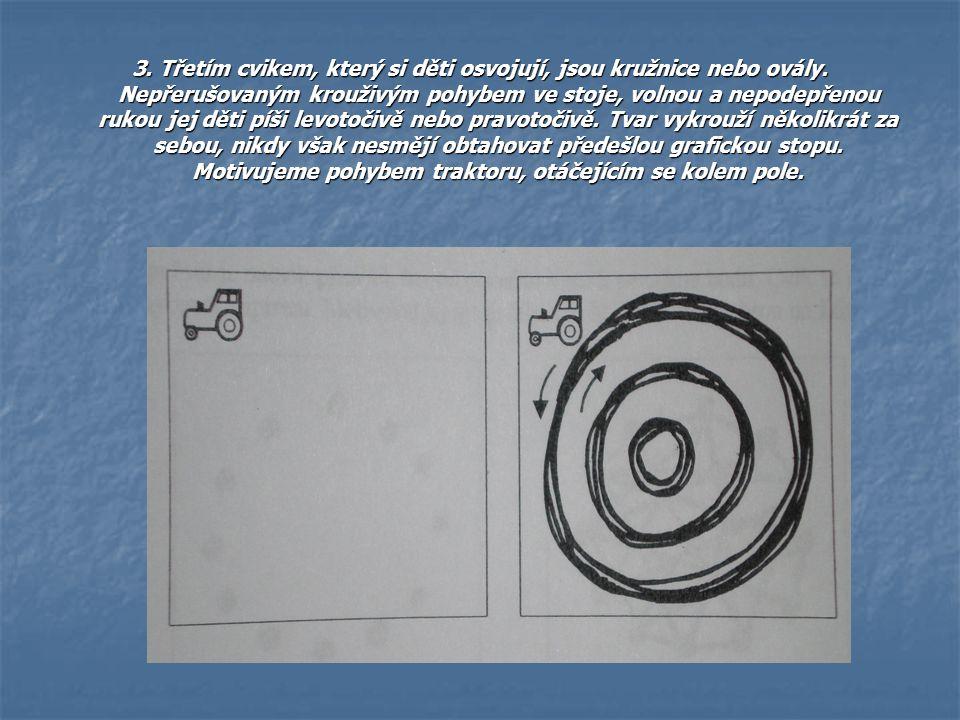 3. Třetím cvikem, který si děti osvojují, jsou kružnice nebo ovály. Nepřerušovaným krouživým pohybem ve stoje, volnou a nepodepřenou rukou jej děti pí