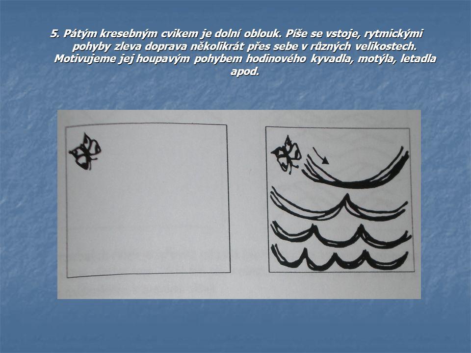 5. Pátým kresebným cvikem je dolní oblouk. Píše se vstoje, rytmickými pohyby zleva doprava několikrát přes sebe v různých velikostech. Motivujeme jej