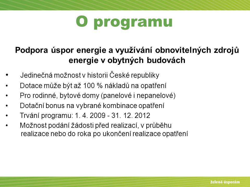 O programu Podpora úspor energie a využívání obnovitelných zdrojů energie v obytných budovách Jedinečná možnost v historii České republiky Dotace může být až 100 % nákladů na opatření Pro rodinné, bytové domy (panelové i nepanelové) Dotační bonus na vybrané kombinace opatření Trvání programu: 1.