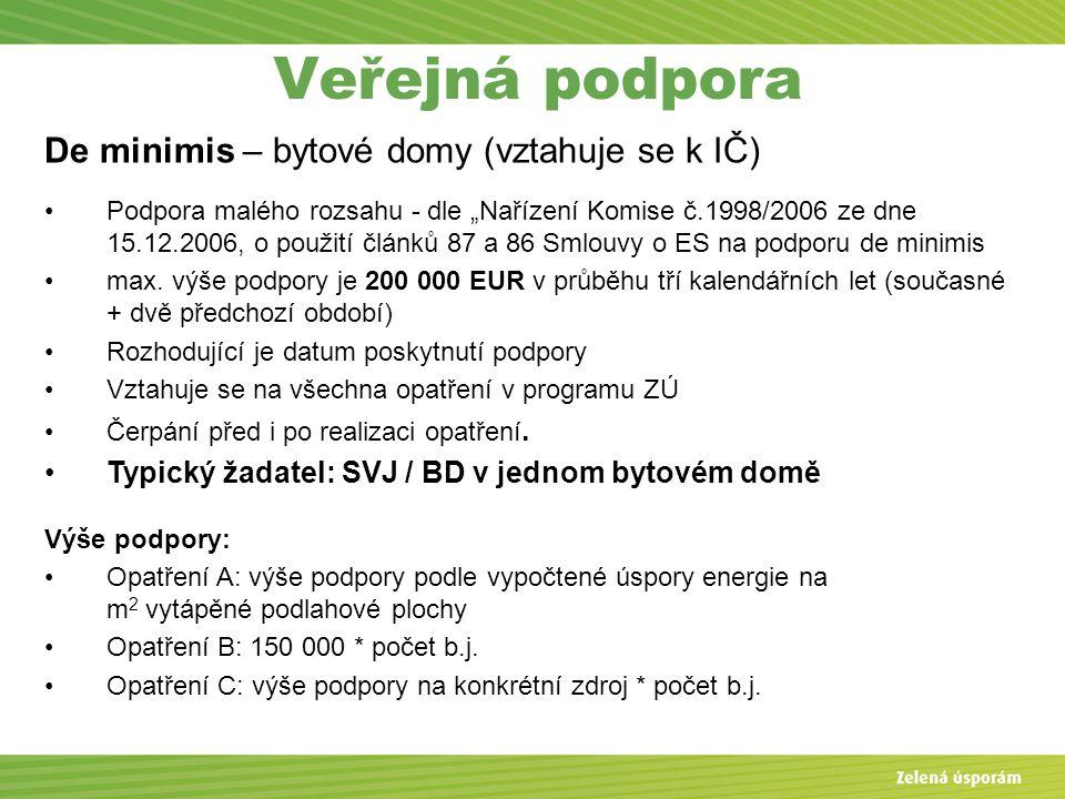 """Veřejná podpora De minimis – bytové domy (vztahuje se k IČ) Podpora malého rozsahu - dle """"Nařízení Komise č.1998/2006 ze dne 15.12.2006, o použití článků 87 a 86 Smlouvy o ES na podporu de minimis max."""