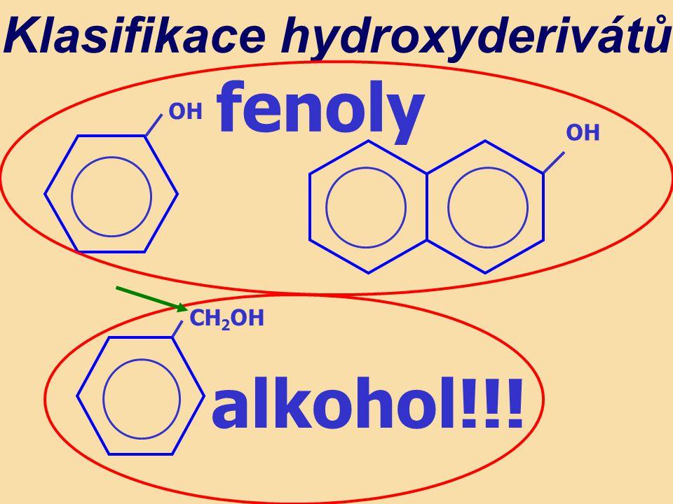 Klasifikace hydroxyderivátů OH CH 2 OH fenoly alkohol!!!