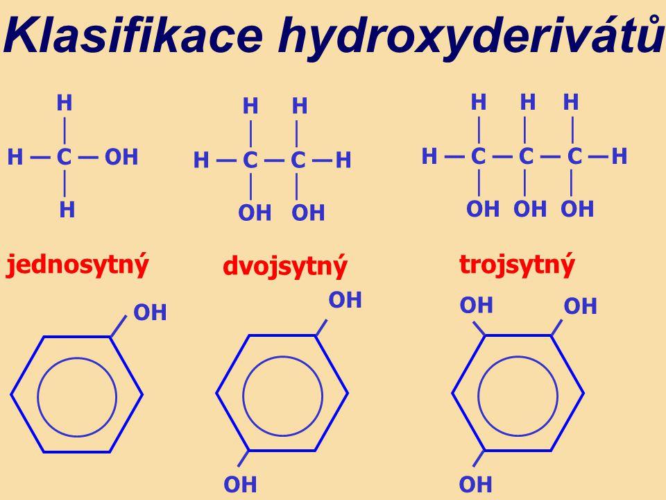 H │ H — C — OH │ H H H │ H — C — C — H │ OH OH Klasifikace hydroxyderivátů H H H │ │ │ H — C — C — C — H │ │ │ OH OH OH jednosytný dvojsytný trojsytný OH