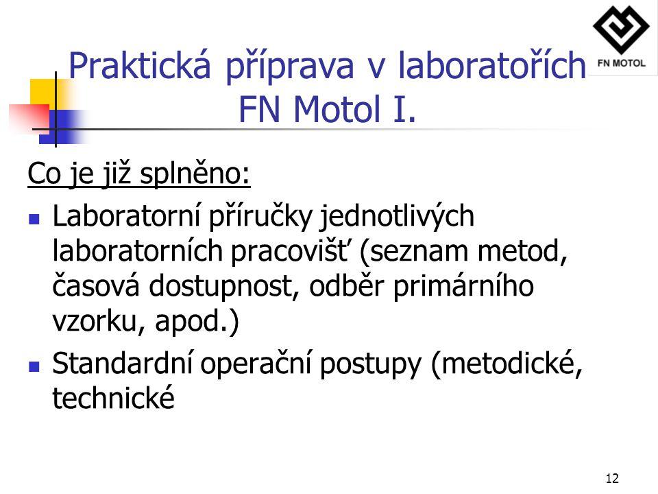 12 Praktická příprava v laboratořích FN Motol I. Co je již splněno: Laboratorní příručky jednotlivých laboratorních pracovišť (seznam metod, časová do