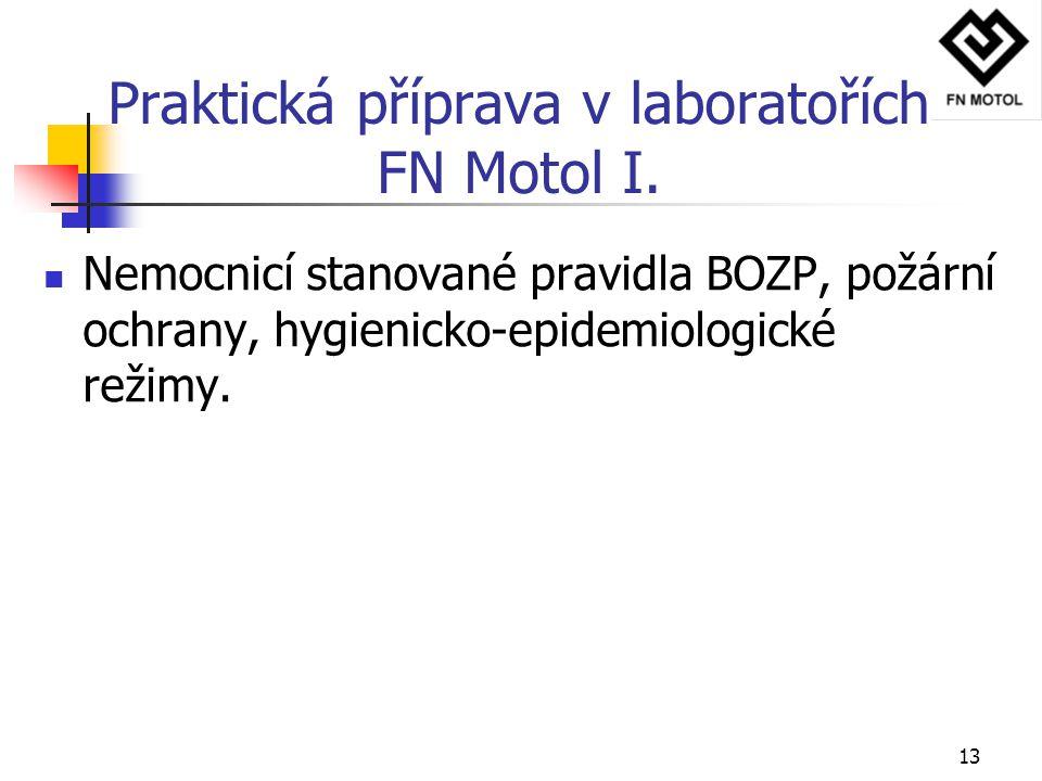 13 Praktická příprava v laboratořích FN Motol I. Nemocnicí stanované pravidla BOZP, požární ochrany, hygienicko-epidemiologické režimy.