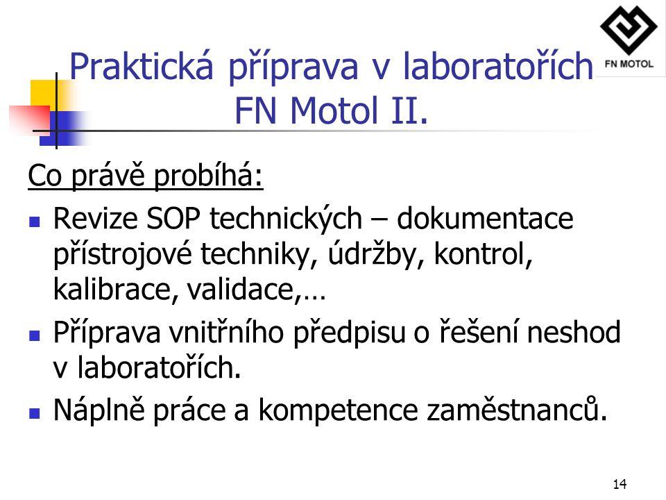 14 Praktická příprava v laboratořích FN Motol II. Co právě probíhá: Revize SOP technických – dokumentace přístrojové techniky, údržby, kontrol, kalibr