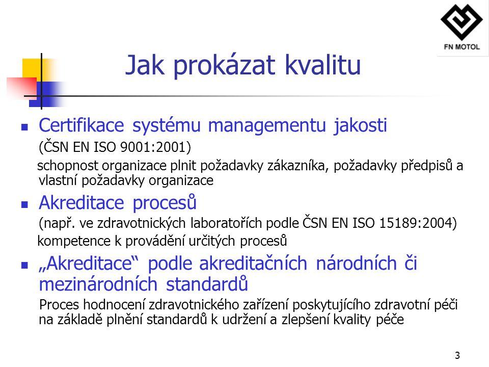 3 Jak prokázat kvalitu Certifikace systému managementu jakosti (ČSN EN ISO 9001:2001) schopnost organizace plnit požadavky zákazníka, požadavky předpi