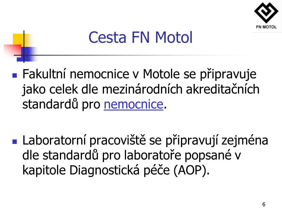 6 Cesta FN Motol Fakultní nemocnice v Motole se připravuje jako celek dle mezinárodních akreditačních standardů pro nemocnice. Laboratorní pracoviště