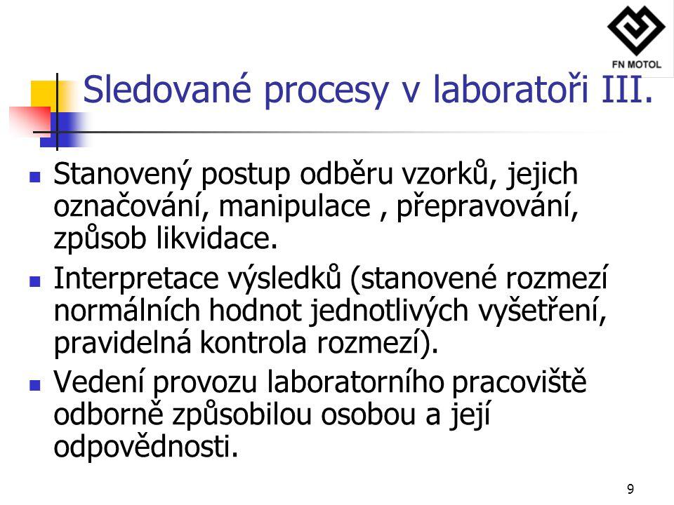 9 Stanovený postup odběru vzorků, jejich označování, manipulace, přepravování, způsob likvidace. Interpretace výsledků (stanovené rozmezí normálních h