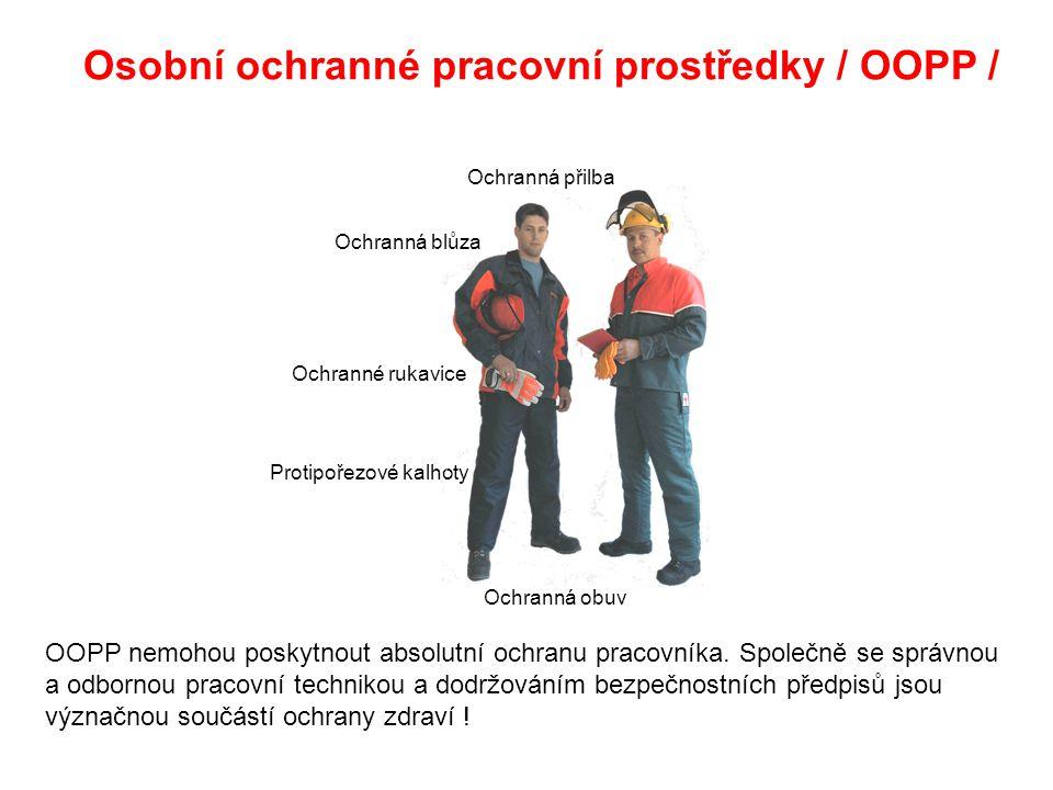 Osobní ochranné pracovní prostředky / OOPP / Ochranná obuv Protipořezové kalhoty Ochranné rukavice Ochranná blůza Ochranná přilba OOPP nemohou poskytnout absolutní ochranu pracovníka.