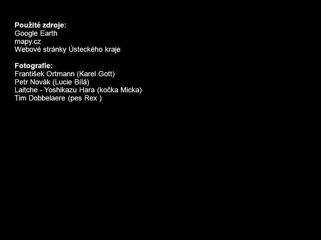 Použité zdroje: Google Earth mapy.cz Webové stránky Ústeckého kraje Fotografie: František Ortmann (Karel Gott) Petr Novák (Lucie Bílá) Laitche - Yoshikazu Hara (kočka Micka) Tim Dobbelaere (pes Rex )