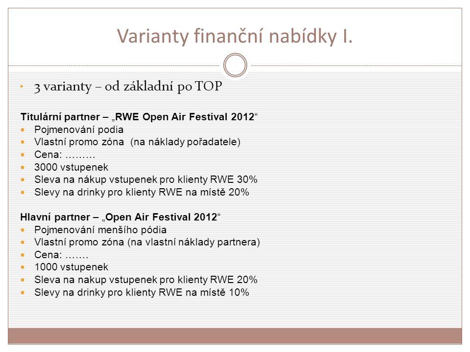 """Varianty finanční nabídky I. 3 varianty – od základní po TOP Titulární partner – """"RWE Open Air Festival 2012"""" Pojmenování podia Vlastní promo zóna (na"""