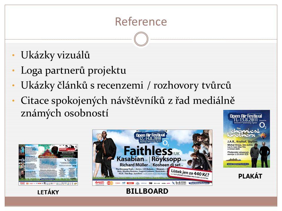 Reference Ukázky vizuálů Loga partnerů projektu Ukázky článků s recenzemi / rozhovory tvůrců Citace spokojených návštěvníků z řad mediálně známých oso