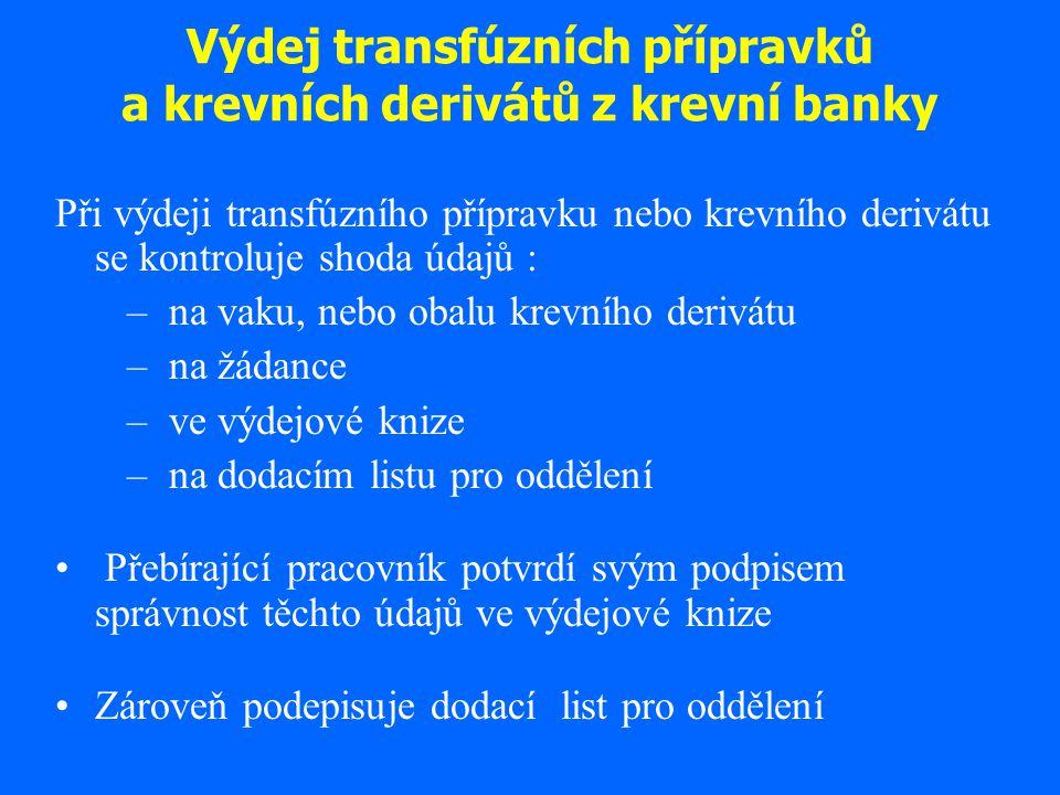 Výdej transfúzních přípravků a krevních derivátů z krevní banky Při výdeji transfúzního přípravku nebo krevního derivátu se kontroluje shoda údajů : –
