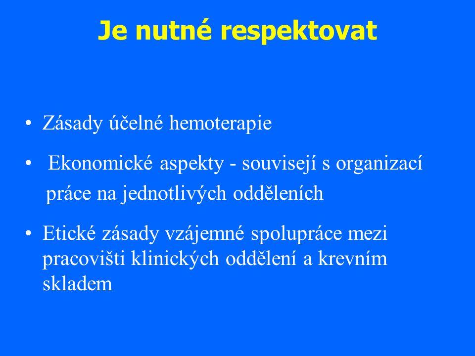 Je nutné respektovat Zásady účelné hemoterapie Ekonomické aspekty - souvisejí s organizací práce na jednotlivých odděleních Etické zásady vzájemné spo