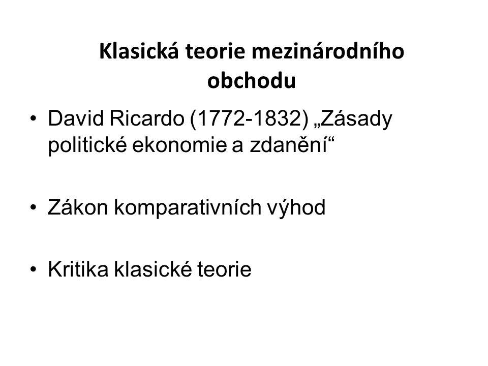 """David Ricardo (1772-1832) """"Zásady politické ekonomie a zdanění Zákon komparativních výhod Kritika klasické teorie Klasická teorie mezinárodního obchodu"""
