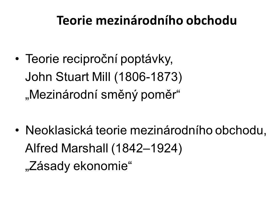 """Teorie reciproční poptávky, John Stuart Mill (1806-1873) """"Mezinárodní směný poměr Neoklasická teorie mezinárodního obchodu, Alfred Marshall (1842–1924) """"Zásady ekonomie Teorie mezinárodního obchodu"""