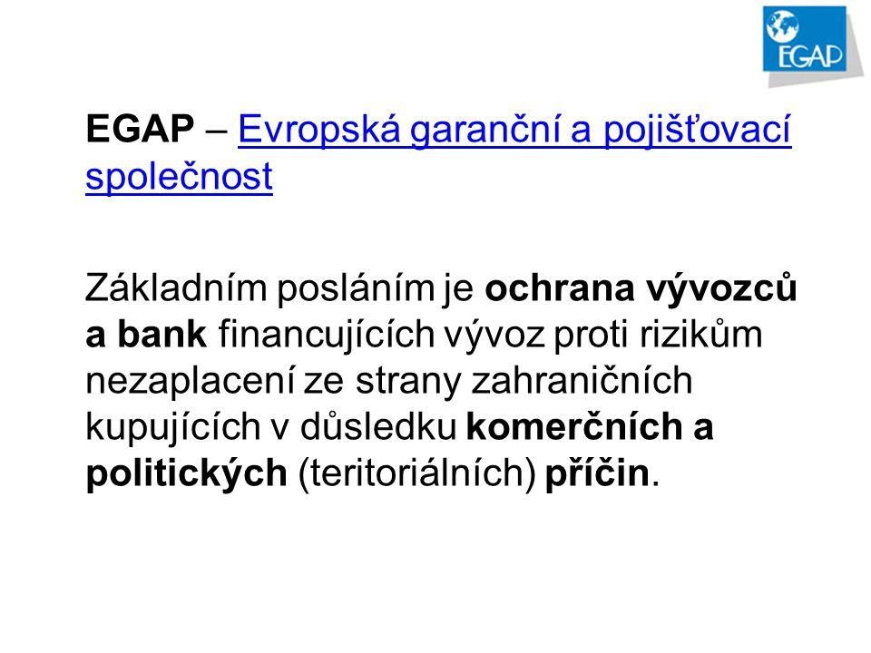 EGAP – Evropská garanční a pojišťovací společnostEvropská garanční a pojišťovací společnost Základním posláním je ochrana vývozců a bank financujících vývoz proti rizikům nezaplacení ze strany zahraničních kupujících v důsledku komerčních a politických (teritoriálních) příčin.
