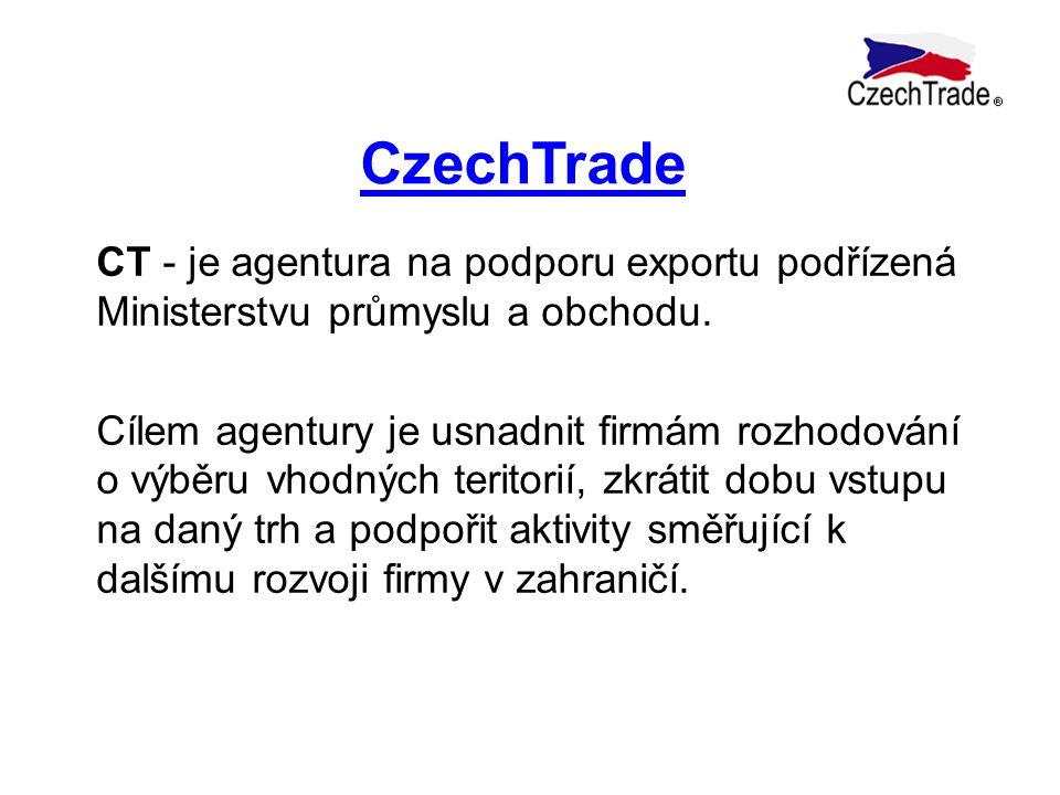 CzechTrade CT - je agentura na podporu exportu podřízená Ministerstvu průmyslu a obchodu. Cílem agentury je usnadnit firmám rozhodování o výběru vhodn