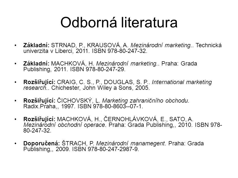 Odborná literatura Základní: STRNAD, P., KRAUSOVÁ, A. Mezinárodní marketing.. Technická univerzita v Liberci, 2011. ISBN 978-80-247-32. Základní: MACH