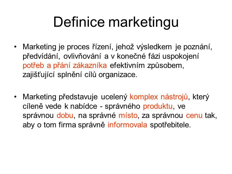 Definice marketingu Marketing je proces řízení, jehož výsledkem je poznání, předvídání, ovlivňování a v konečné fázi uspokojení potřeb a přání zákazníka efektivním způsobem, zajišťující splnění cílů organizace.