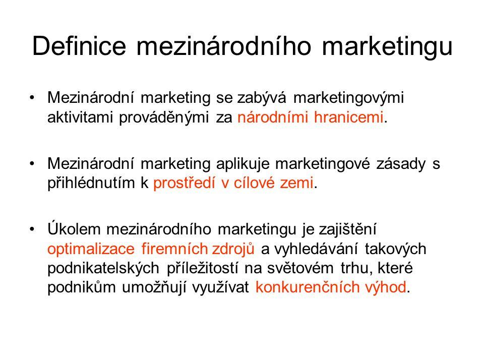 Odlišnosti mezinárodního marketingu 1.sociálně-kulturní odlišnosti trhů 2.jazykové bariéry 3.legislativní předpisy 4.upřednostňování tuzemských výrobců 5.relativní vypovídací schopnost informací 6.problémy při výzkumu trhu 7.profesionální lobbing 8.eskalace nákladů 9.odlišný životní styl