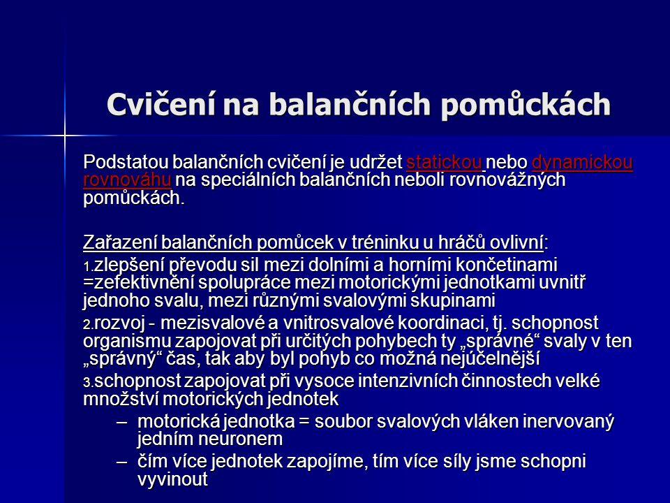 Cvičení na balančních pomůckách Podstatou balančních cvičení je udržet statickou nebo dynamickou rovnováhu na speciálních balančních neboli rovnovážný