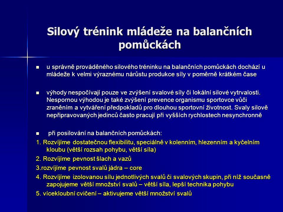 Silový trénink mládeže na balančních pomůckách u správně prováděného silového tréninku na balančních pomůckách dochází u mládeže k velmi výraznému nár