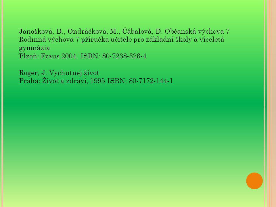 Janošková, D., Ondráčková, M., Čábalová, D. Občanská výchova 7 Rodinná výchova 7 příručka učitele pro základní školy a víceletá gymnázia Plzeň: Fraus
