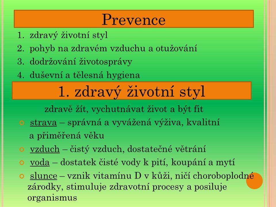 1. zdravý životní styl 2. pohyb na zdravém vzduchu a otužování 3. dodržování životosprávy 4. duševní a tělesná hygiena Prevence zdravě žít, vychutnáva